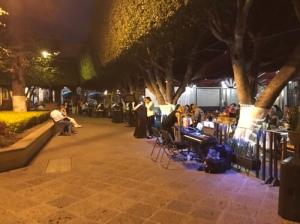 Musicians outside restaurant in Querétaro
